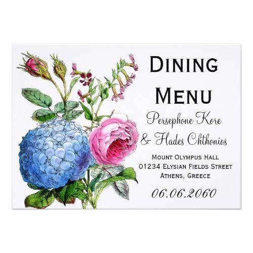 Blue Wedding Menu Hydrangea Roses Floral Wedding Dining Menu Card