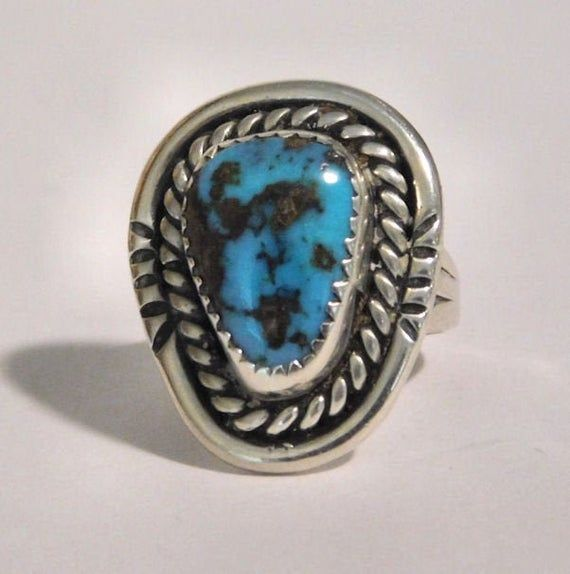 Old Pawn Native American Blue Turquoise Sterling Silver Ring Size 12 Southwest