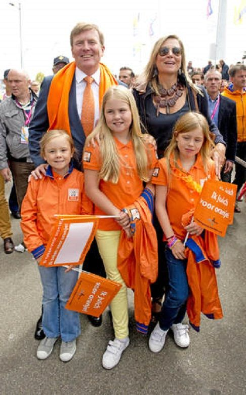 (L-R) Dutch King Willem-Alexander, Queen Maxima, Princess Ariane, Crown Princess Amalia and Princess Alexia, attend the Field Hockey World Cup men's final between Australia and the Netherlands, in the Hague, the Netherlands, 15.06.2014
