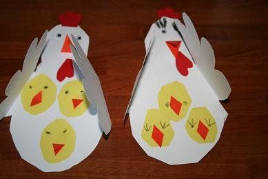 chicks and hen Craft - would be cute for daycare of Elem. School kids to make