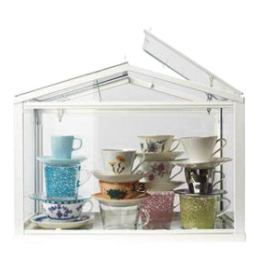 IKEA's Greenhouse (SOCKER). I want this for storing teacups and saucers as shown here (this picture was screenshot from their online catalogue so please excuse the blurriness).