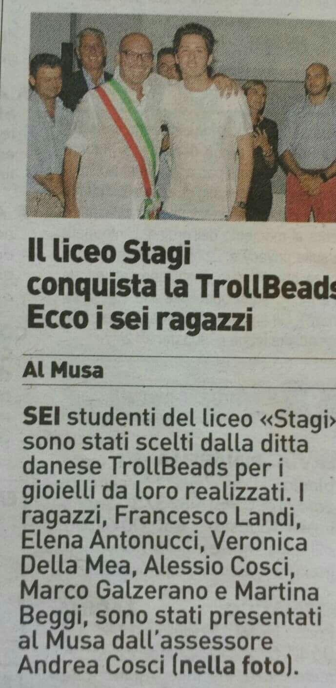 """""""La Nazione"""" 28.07.16. Liceo artistico """"Stagio Stagi"""" di Pietrasanta."""