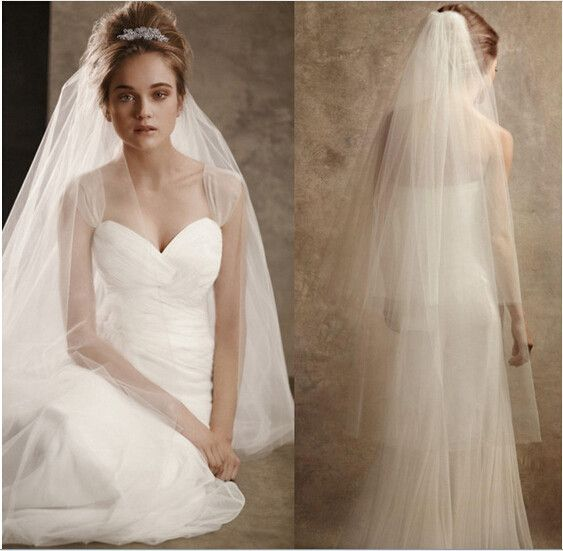 2016 New Elegant Wedding Veil with Cut Edge 2 Layers White/Ivory Wedding Accessories Wedding Dress Stock Bridal Veil With Comb