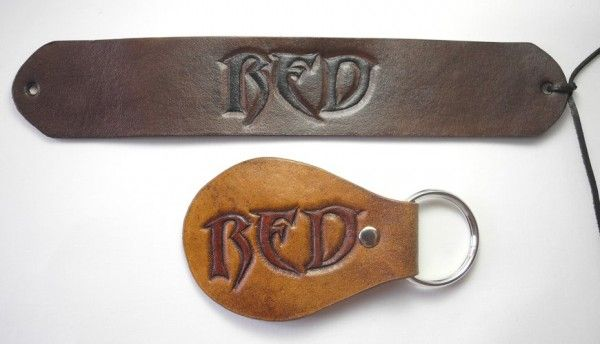 RED, personalized handtooled, carved leather bracelet and key chain