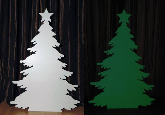 Snowy Christmas Tree silhouette 80x120cm, special frosted effect and glows in the dark (green luminescent)