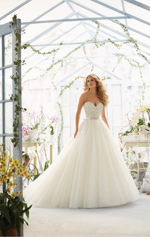 Mori Lee bridal gown. Wedding ballgown. Beaded bridal gown with beaded belt. Mori Lee bridal. 2802