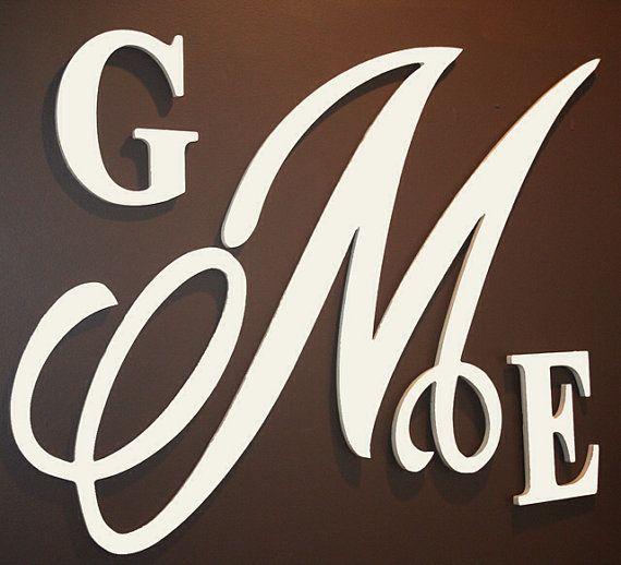 large 28 inch wooden monogram letters- wedding monogram, nursery ...