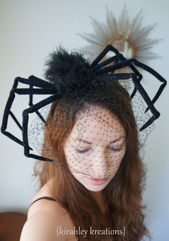 the original huge black widow spider halloween headpiece gothic steampunk scary creepy costume party headband birdcage veil dark wedding