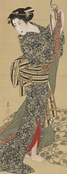 Mihata Joryu | Geisha. Main detail of a hanging scroll; ink and colour on silk, 1830-40, Japan. MFA