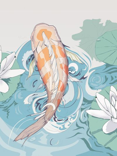 Koi, means courage. something like this going on my calf with my sons name in the water, because he gave me the courage to seek a better life for us both.