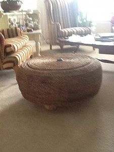 Tire turned ottoman!  Laurel@Chipping with Charm's, Repurposing FUN :: Hometalk