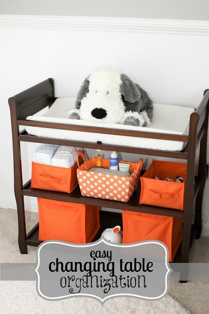 Fantastic changing table storage / organization setup and ideas