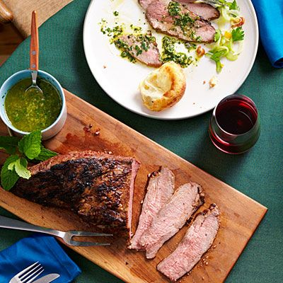 Garlic-Rubbed Tri-Tip with Mint Caper Salsa via Sunset Magazine