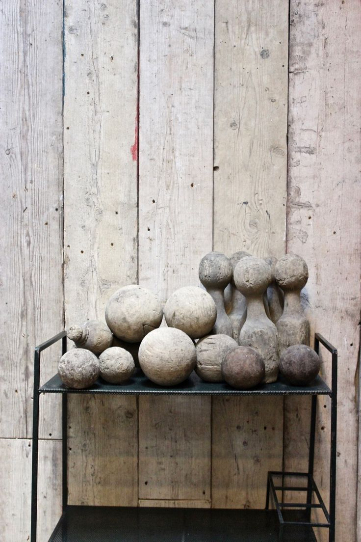 A charming set of antique pub skittles and balls, perfect for a display.
