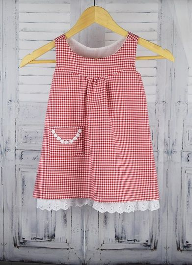 Our beautiful Daisy dress in red gingham 100% cotton. Fully lined and perfect for the summer months. Your little girl will love this carefree style. No buttons or zips!