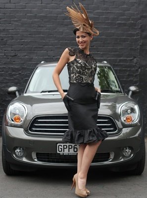 One off Natalie Chan gupiure lace and silk dupion dress with gold sinamay structured hat. Love to see at Derby Day Races! x