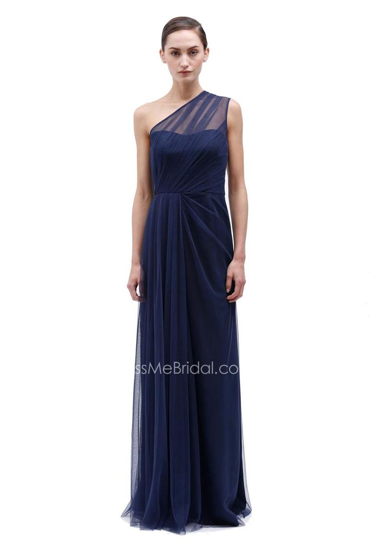 navy ones shoulder long tulle bridesmaid gown with side drape