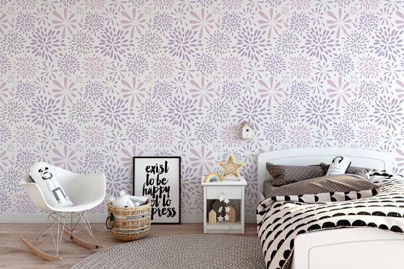 Flower Works Lavender Removable Wallpaper Cute Peel And Etsy Removable Wallpaper Textured Walls Standard Wallpaper