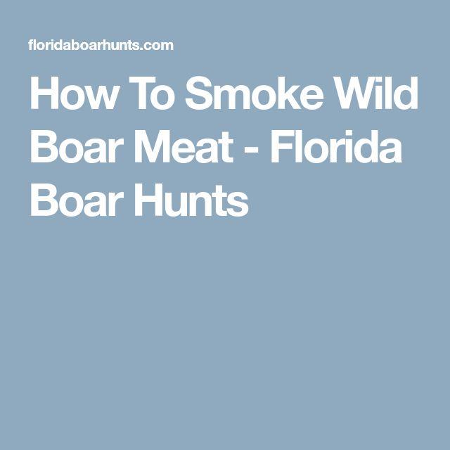 How To Smoke Wild Boar Meat - Florida Boar Hunts http://riflescopescenter.com