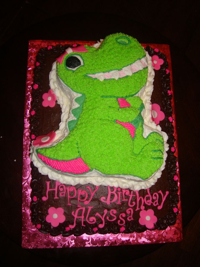 girly dino cake | girly dinosaur cake used the wilton dinosaur cake pan but added pink ...