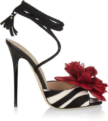 Jimmy Choo Faye Zebraprint Calf Hair Sandals in Animal (zebra) - Lyst