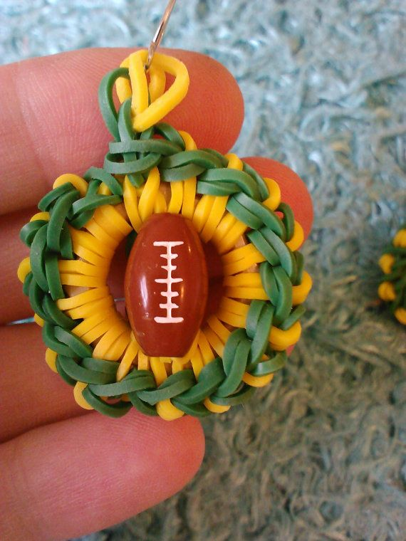 team pride rainbow loom earrings by CRAZYBUTTONDESIGNS13 on Etsy