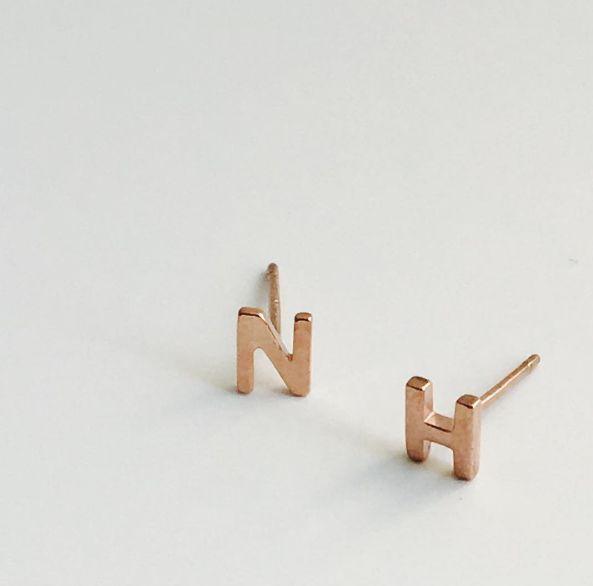 Initial Earrings in Rose Gold
