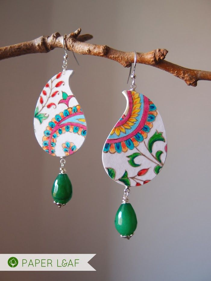 Paisley | paper earrings | acrylic on cardboard and emerald root | Paper Leaf