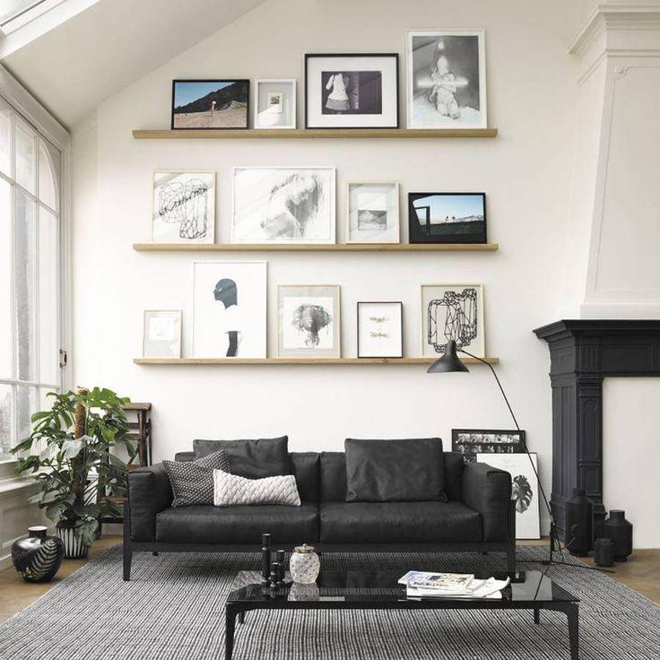 un salon noir et blanc arty - Salon Bleu Marine Et Blanc