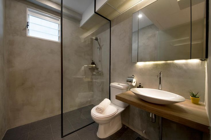 Good idea to line the glass shower screen with black to prevent dirt from being visible.  Compassvale Ancilla | Home & Decor Singapore