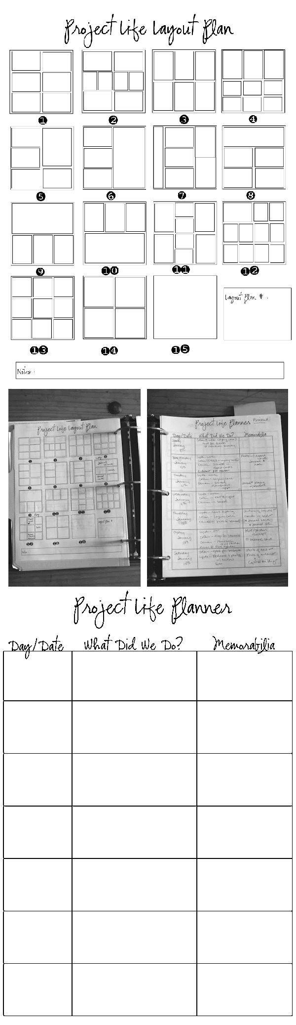 project life planner sheets: free printables from Elle C Use as layout aids for sketchbook planning/templates