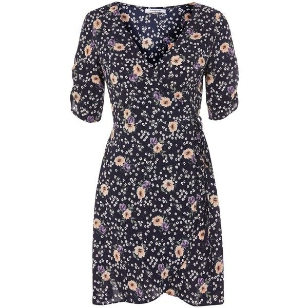 Navy Floral Wrap Dress by Glamorous (£28) ❤ liked on Polyvore featuring dresses, navy blue, navy blue floral dress, blue floral dress, navy blue dress, navy blue wrap dress and navy dresses