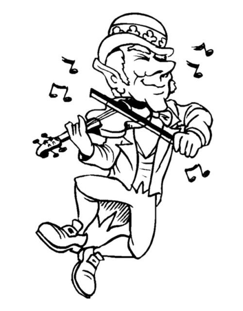 St. Patrick's Day By Playing Music Coloring Pages