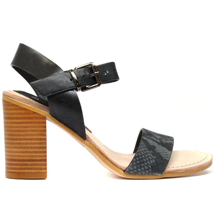 LYBLE by MOLLINI. The block heel sandal is a summer staple, freshen up your look with this new Mollini pair! Featuring a sling back, a single strap across the toes and an adjustable buckle strap for support. Dress them up with matching separates or dress them down with a pair of skinny jeans. Heel height is 9.5cm. Leather upper, leather lining and man made outsole. #blockheel #wood #fashion #ss14 #love #style #heels #mollini #mollinishoes #texture #trend