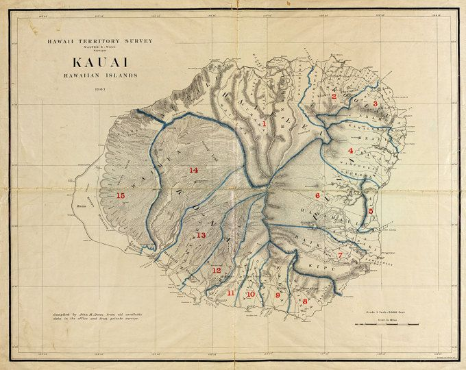 1903 Map of Kauai Hawaii