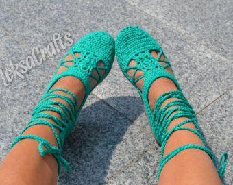 Crochet sandals in the Greek style
