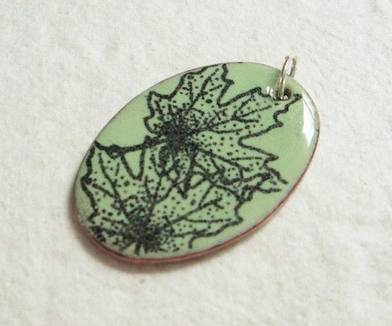 Maple Leaves Enameled Pendant by BeadSwedeSupplies on Etsy, $15.00