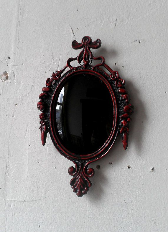 Convex Black Scrying Mirror in Vintage Oval by SecretWindowMirrors, $25.00
