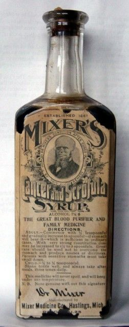 Claims to cure cancer and scrofula (tuberculosis of the lymph nodes). That's a pretty bold claim considering neither have a cure in 2012.