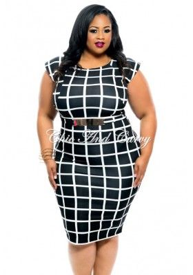 New Plus Size BodyCon with Cap Sleeve and Belt in Black and White Square Print 1x 2x 3x