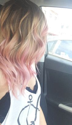 Bubble gum dip dye hair