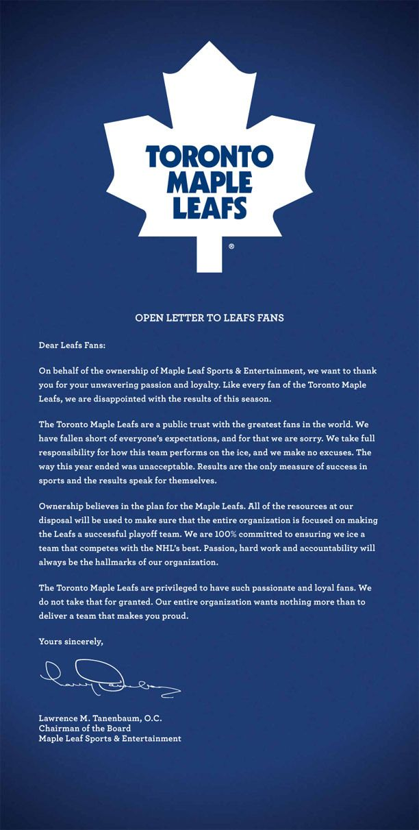 An apology from the Toronto Maple Leafs