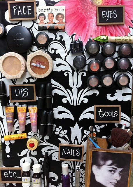 Magnetic Make-up Board   1.) Cover your magnetic board with pretty paper.    2.) Burn yourself as you glue magnets to the back of your make-up collection  3.) Write categories on little chalkboards so your pretty new board can be ultra-organized  TA-DA!