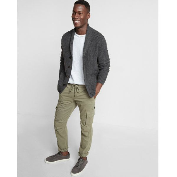 Express Shaker Knit Button Front Shawl Collar Cardigan ($88) ❤ liked on Polyvore featuring men's fashion, men's clothing, men's sweaters, grey, mens shawl collar sweater, mens cardigan sweaters, mens button sweater, mens grey cardigan sweater and mens shawl collar cardigan sweater