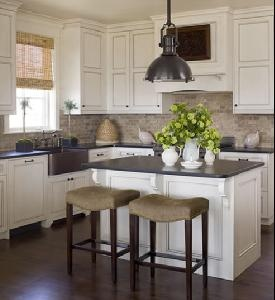 Phoebe Howard - Country Chic... dark wood floors, white Cabinets and dark counters