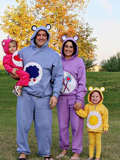 The Care Bears! Dad: Grumpy Bear Mom: Share Bear Girl: Funshine Bear Boy: Champ Care #Halloween http://www.ivillage.com/family-halloween-costume-ideas/6-b-140636