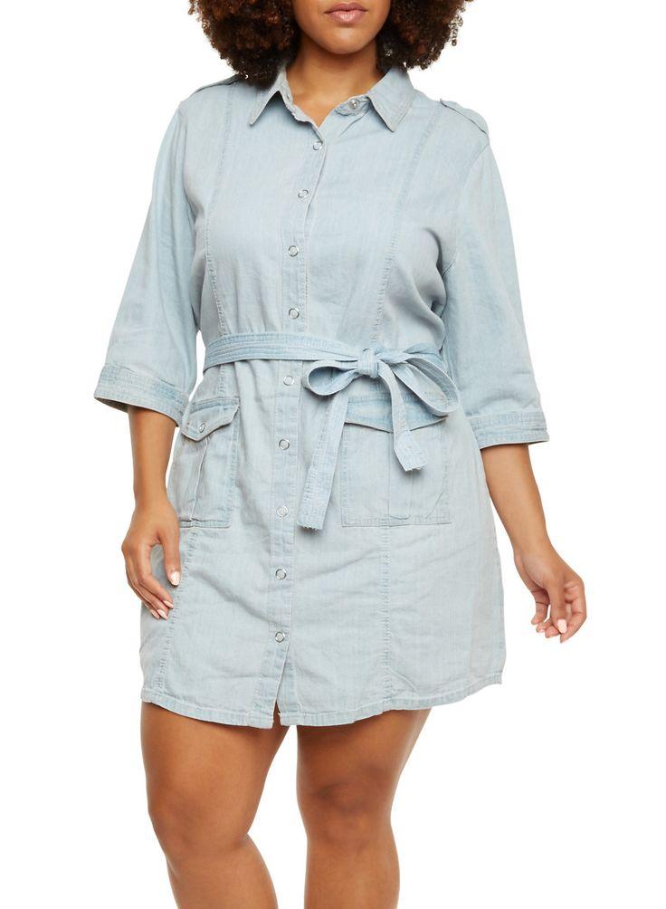 Plus Size Belted Denim Shirt Dress with Cargo Pockekts,LIGHT WASH