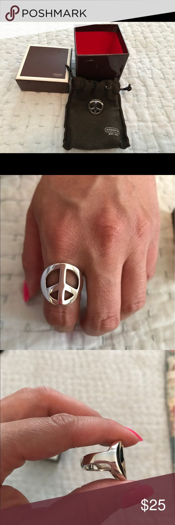 Coach Sterling Silver Peace Ring Authentic Coach Sterling Silver Peace Ring. Never worn. Comes with bog and felt storage bag. The ring is size 6. I bought this ring because I loved it but it was always too big for my fingers so I never wore it. I had intended to get it sized but never got around to it. Coach Jewelry Rings