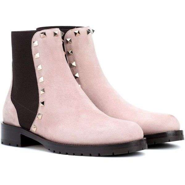 Valentino Valentino Garavani Suede Ankle Boots ($1,220) ❤ liked on Polyvore featuring shoes, boots, ankle booties, pink, suede booties, pink boots, short boots, pink ankle boots and ankle boots