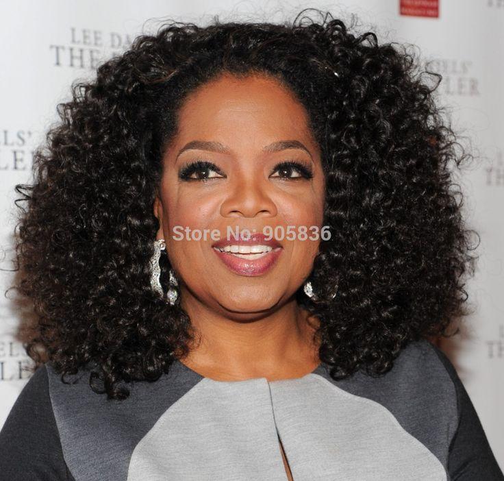 Oprah winfrey peinado corto Afro rizado rizado pelucas pelucas negro corto de encaje frente peluca de cabello humano para mujeres negras 150% densidad(China (Mainland))